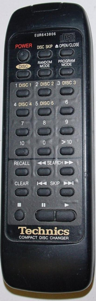 TECHNICS EUR643806 Náhradní dálkový ovládač