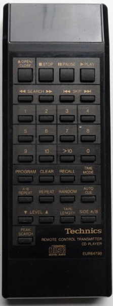 TECHNICS EUR64798 Náhradní dálkový ovládač