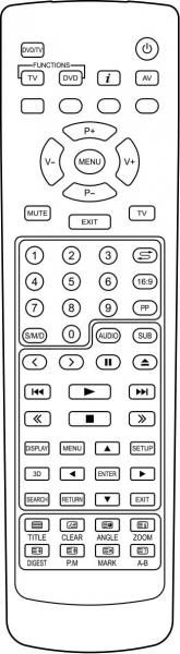 AKAI CTW2837TN-DVD Náhradní dálkový ovládač