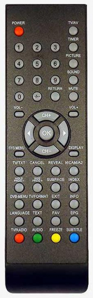 Replacement remote control for Ansonic LCD157TDTW