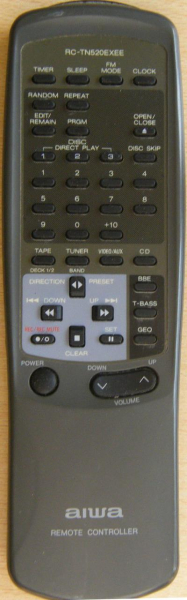 Replacement remote control for Aiwa RC-TN530