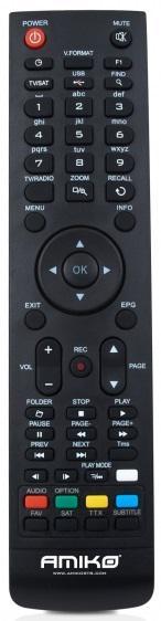 AMIKO HD-8260+ Náhradní dálkový ovládač