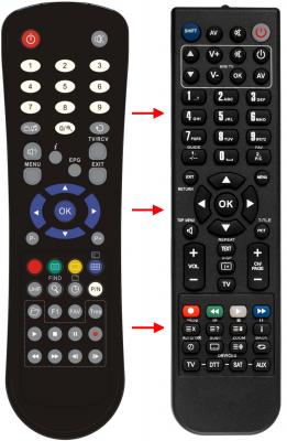 Erstatnings-fjernbetjening til  Galaxy Innovations S6199