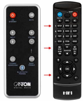 Replacement remote control for Canton DM100