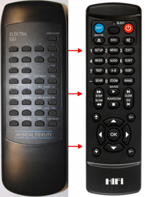 Replacement remote control for Musical Fidelity ELEKTRA E60