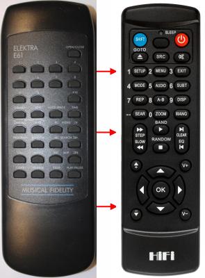 Erstatnings-fjernbetjening til  Musical Fidelity ELEKTRA E60