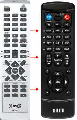 Replacement remote control for Mystery MDV-839UH