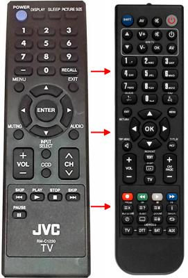 Erstatnings-fjernbetjening til  JVC 22EM21