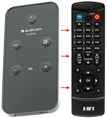 Erstatnings-fjernbetjening til  Audio Pro ADDON FIVE