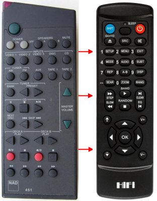 Replacement remote control for Nad 450(AMP)