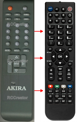 Replacement remote control for Akira 47KTV-20DF