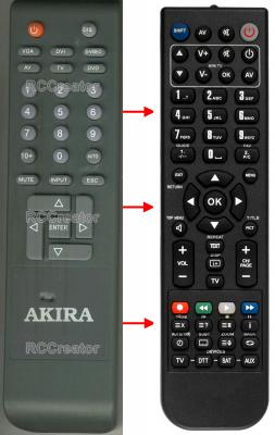 Erstatnings-fjernbetjening til  Akira 47KTV-20DF