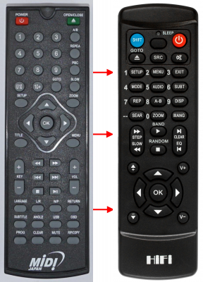 Replacement remote control for Vr DV-412MKV