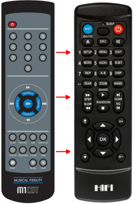 Replacement remote control for Musical Fidelity M1CDT
