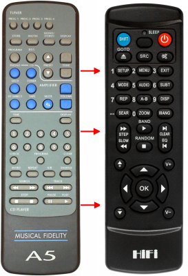 Replacement remote control for Musical Fidelity A5(AMP-CD)