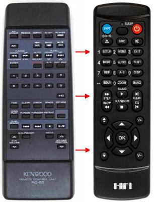 Erstatnings-fjernbetjening til  Kenwood A-E5L
