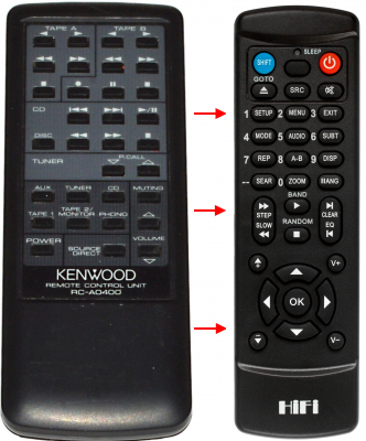 Erstatnings-fjernbetjening til  Kenwood -2060R