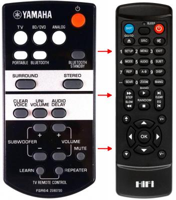 Erstatnings-fjernbetjening til  Yamaha ATS-1520