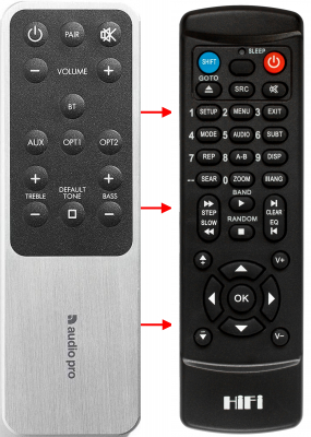 Erstatnings-fjernbetjening til  Audio Pro ADDON T14