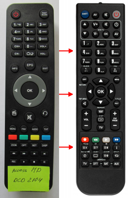 Replacement remote control for Access HD DCD2104