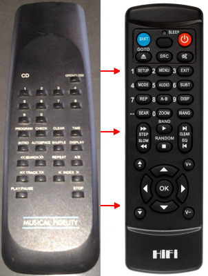 Replacement remote control for Musical Fidelity NU-VISTA3D