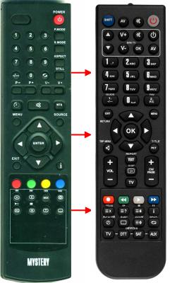 Erstatnings-fjernbetjening til  Helix HTV-1610L