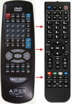 Replacement remote control for Apex AD-5131