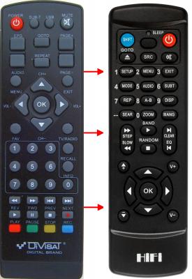 Erstatnings-fjernbetjening til  Digital Box HDT-555