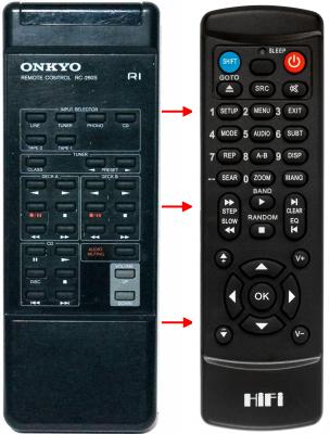 Erstatnings-fjernbetjening til  Onkyo A-8051