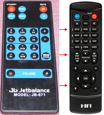 Erstatningsfjernkontroll for Jetbalance JB-671 4B1