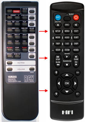 Erstatnings-fjernbetjening til  Yamaha AX-1070