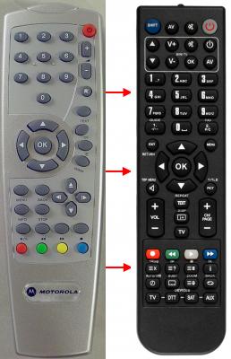 Erstatnings-fjernbetjening til  Motorola VIP1510