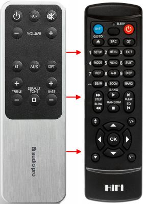 Erstatnings-fjernbetjening til  Audio Pro ADDON T8L