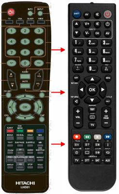 Erstatnings-fjernbetjening til  Hitachi 08806A