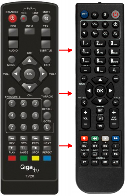 Erstatnings-fjernbetjening til  Sigmatek DVBR-520HD