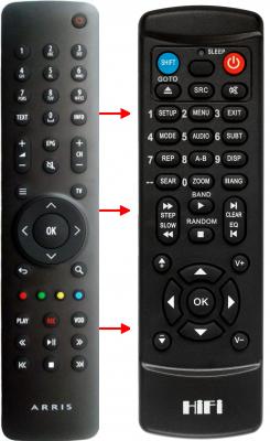 Erstatnings-fjernbetjening til  Motorola VIP1920-TDB