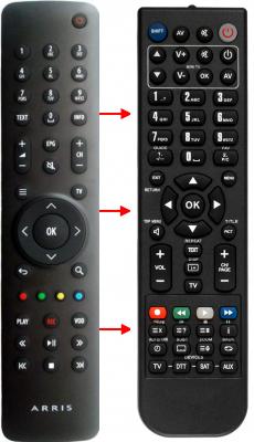 Erstatnings-fjernbetjening til  Motorola VIP1003
