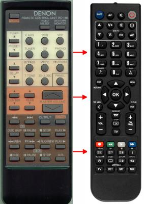 Erstatnings-fjernbetjening til  Denon 4990225001,RC146,AVR610