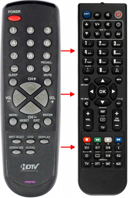 Replacement remote for Sansui HDLCD1955, HDLCD1912, 076E0PV021
