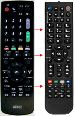 Replacement remote control for Sharp 076B0RV011