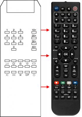 Erstatnings-fjernbetjening til  Autovox 1685TX