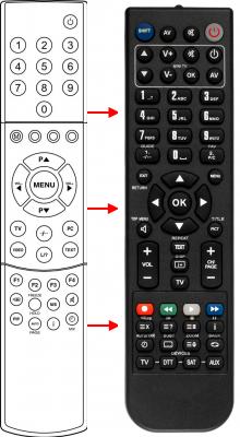 Erstatnings-fjernbetjening til  Medion 1C110LIFE