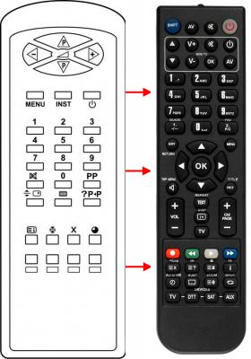 Erstatnings-fjernbetjening til  All Tel LCD018