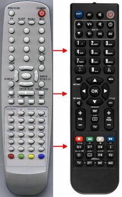 Erstatnings-fjernbetjening til  Qonix TVD2150