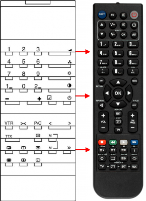Replacement remote control for Zirwatel INFRARED2030ME