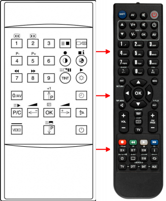Replacement remote control for Grundig 117-100IDTV