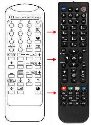Erstatnings-fjernbetjening til  Inno Hit 2076TX