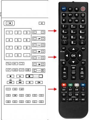 Erstatnings-fjernbetjening til  Panasonic 0170 40073