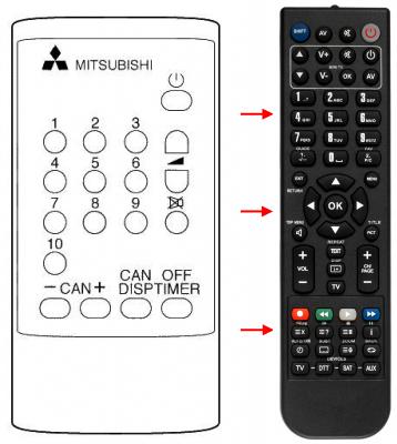 Erstatnings-fjernbetjening til  Mitsubishi 14M1
