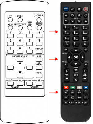 Replacement remote control for Thomson V51NB
